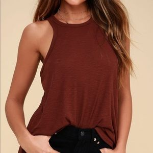"Free People ""Long Beach"" Tank Rust Red"